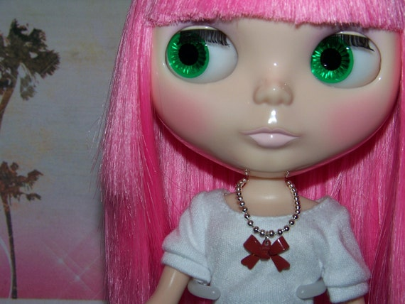 necklace for Blythe doll silver ball chain with painted metal red bow pendant B148