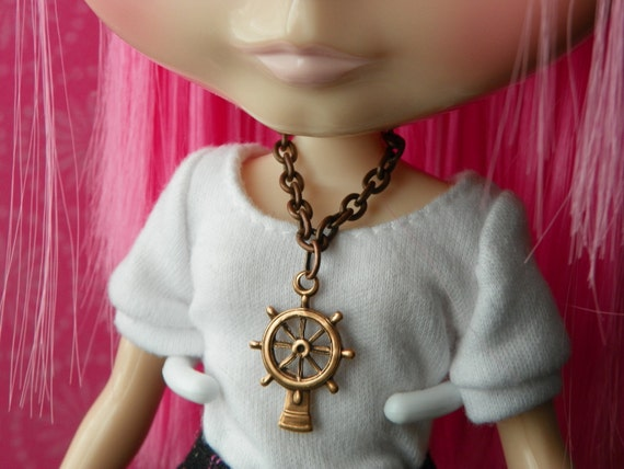 necklace for Blythe - antiqued copper ship's wheel pendant B177
