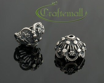 2 Sterling silver bead caps for 10mm beads - ornate Bali bead caps - bcpo016