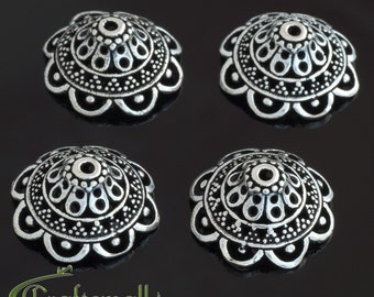 Clearance: 2 Sterling silver bead caps for 16mm beads - ornate Bali bead caps - cbcl002
