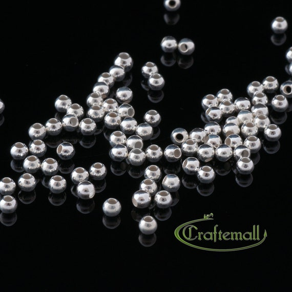 100 Sterling Silver Spacer Beads - Seamless Round 2mm - SSSBB2