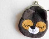 Sleepy bear coin purse with anti bronze carved frame