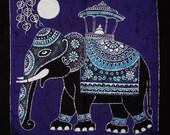Batik Wall Hanging - Elephant Tapestry Batik Art - Hand made (316)