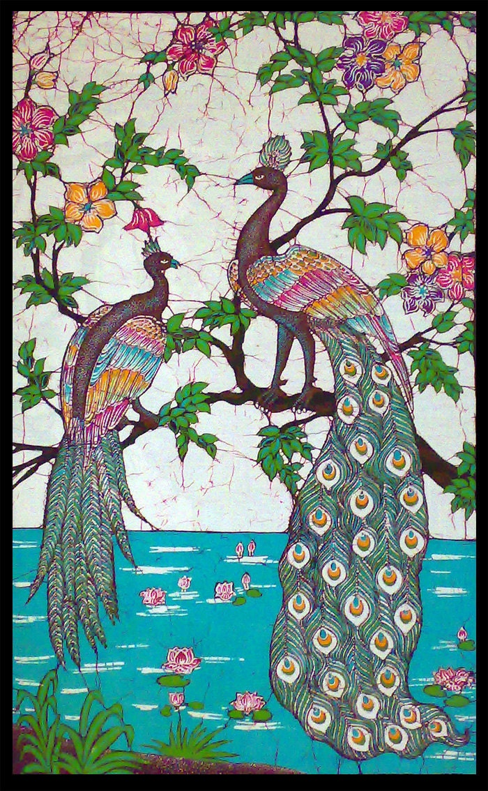 Peacocks Near Pond Of Lotus Peacock Couple Design Batik