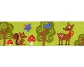 animals in the forrest green woven ribbon