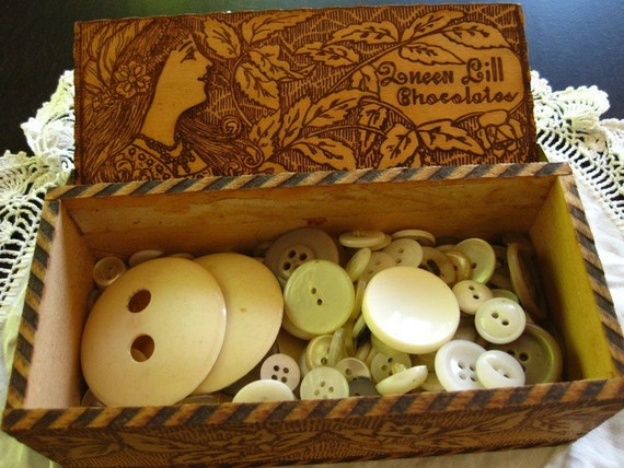 Lovely Antique Wooden Box and Antique Buttons