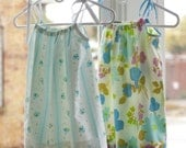 Vintage Pillowcase Dress - Purple, Blue, Green Flowers