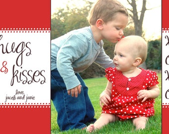 Hugs and Kisses - Custom Valentine's Day Photo Card