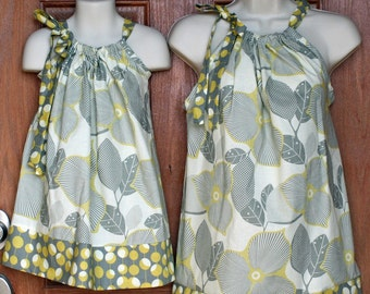 """Matching Adult Top (XS, S or M) and Child Pillowcase Dress (size 6mo-8)  in Amy Butler Midwest Modern """"Linen/Mustard"""""""