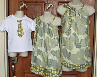 """Matching Family Ensemble: Mother Top (XS, S or M), Girl Dress and Boy Tie Shirt in Amy Butler Midwest """"Linen/Mustard"""""""