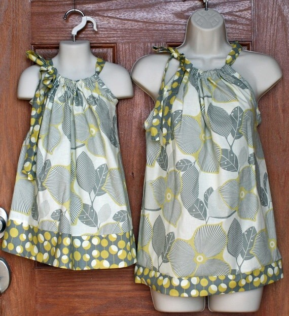 "Matching Mother Top (L, XL or XXL) and Child Pillowcase Dress in Amy Butler Midwest Modern ""Linen/Mustard"""