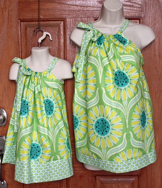Matching Adult Top (XS, S or M) and Child Pillowcase Dress (6mo- size 8) in Heather Bailey Pop Garden