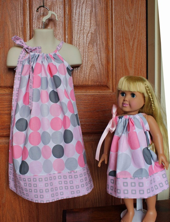 Matching Pillowcase Dress for Child and 18 in Doll in Michael Miller Pink/Gray
