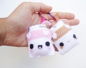 Chocolate or Strawberry Milk - Food Keychain, Kawaii Keychain, Felt Food, Key Ring, Cell Phone Charm, Party Favors, Stocking Stuffer