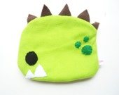 Green Dinosaur Zippered Pouch - Cute Make Up Case, Kawaii Coin Purse