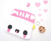 Strawberry Milk Pouch - Kawaii Food, Pencil Case, Make Up Bag, Phone Case, 3DS Case, Christmas Gift