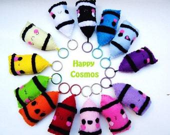 Crayon Keychain - Cute Keychain, Kawaii Keychain, Felt Food, Key Ring, Cell Phone Charm, Party Favors, Stocking Stuffer
