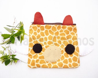 Giraffe Zipper Pouch - Pencil Pouch, Pencil Case, School Supplies, Make Up Bag, 3DS Case, Phone Case, Coin Purse