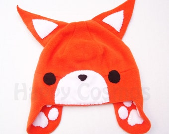 Orange Fox Hat - Cosplay Beanie, Fleece Beanie, Winter Hat, Hat for Adults, Hats for Children, Animal Hat