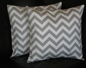 As Featured on HGTV - Grey Pillows Toss Pillows gray 26 inch EUROS set of Two storm grey on white CHEVRON zigzag