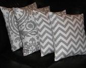 """Decorative Throw Pillows 20x20 storm grey CHEVRON, SUZANI Accent Pillows Two SETS 20"""" gray on white pillows"""