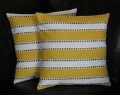 """Decorative Throw Pillows Set of Two 20x20 Pillow Shams 20"""" pillowcase Yellow, White, Taupe LuLu Stripe & Dot"""