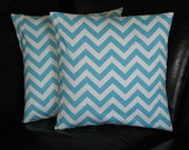 CHEVRON pillows 20 inch Zig Zag Decorative Throw Pillows Turquoise and White zigzag Set of Two 20""