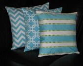"Pillows Decorative Pillows TRIO chevron zigzag, chain link, lulu stripe Turquoise 20x20 inch Throw Pillow COVERS 20"" aqua, white, lime"