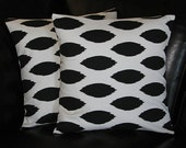 """IKAT pillow covers Decorative Throw Pillows 20x20 inches 20"""" Black and White Chipper set of TWO"""
