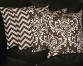 "Decorative Throw Pillows 20x20 Pillow COVERS brown and natural CHEVRON, Damask Accent Pillows Two SETS 20"" chocolate pillows"