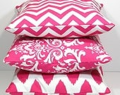 "Hot PINK Pillows Decorative Pillows TRIO chevron, damask, ikat set of THREE 18x18 inch Throw Pillow Covers 18"" pink, white Zig Zag"