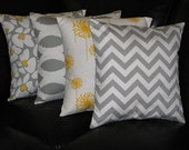 "Decorative Pillows grey Throw Pillows FOUR 18 inch Pillow Covers floral, ikat, dandelion, chevron 18"" grey, yellow, white"