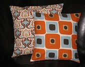 Pillows Set of Two 18x18 Designer Fabric Throw Pillow Covers 18 inch Sweet Potato, Robins Egg, Natural & Chocolate Glam print GEO
