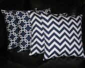 "Decorative Pillows navy Throw Pillows FOUR chain link, chevron 18x18 inch 18"" blue, white Zig Zag"