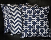 "NAVY blue Pillows Decorative Pillows TRIO damask, chevron, chain link 16 inch Throw Pillow COVERS 16"" dark blue, white"