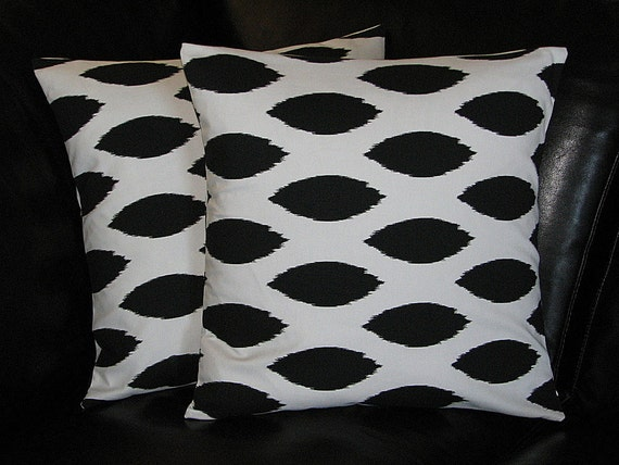 Items similar to Decorative Pillows COVERS 24x24 inch IKAT accent pillow set of TWO 24 inch ...