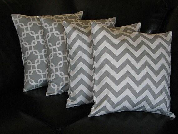 Grey Chevron Throw Pillow : Items similar to Decorative Throw Pillows 20x20 storm grey CHEVRON, Chain Link Accent Pillows ...