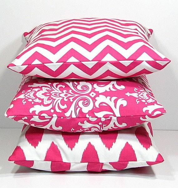 Items similar to Hot PINK Pillows Decorative Pillows TRIO chevron, damask, ikat set of THREE ...