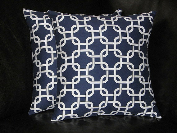 items similar to navy blue euro sham 26 pillow covers 26 inch chain link slipcovers dark blue. Black Bedroom Furniture Sets. Home Design Ideas