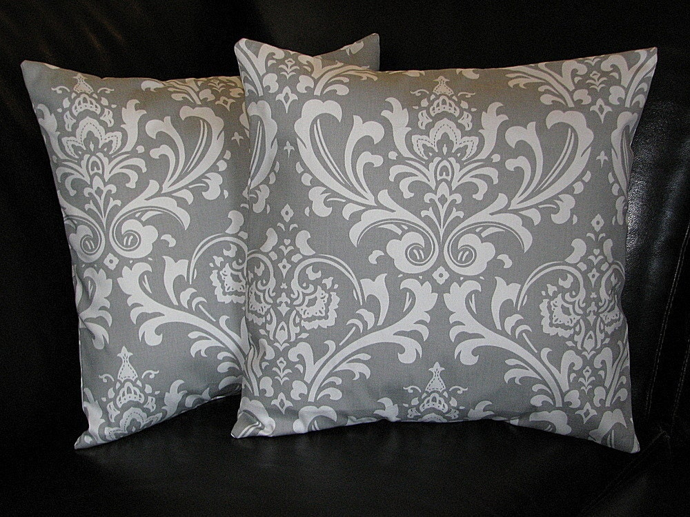 Throw Pillows Damask : DAMASK Pillows Grey and White Accent by LittlePeepsHomeDecor