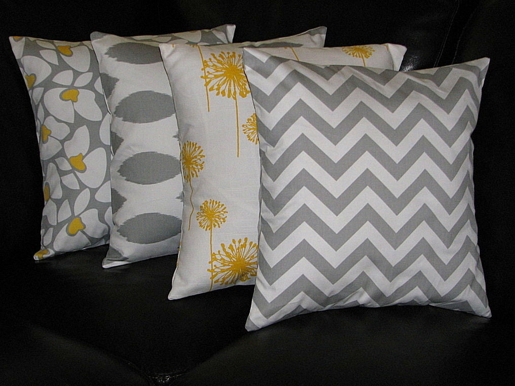 Items similar to Decorative Pillows grey Throw Pillows FOUR 20 inch Pillow Covers floral, ikat ...