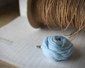 Upcycled Rosette in Sky - Rolled Fabric Rosette Hair Clip . READY TO SHIP .