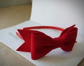 Red Felt Bow Headband . Bow headband . Red Bow . Hair Bow .