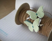 Butterfly Hair Clips - hair clips . little girl hair clips . Petite Papillon in Sage, Vanilla and Apple . nature . green . duo .