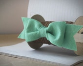 Mint Green Baby Bow Headband . Baby Bow . Baby Headband . felt bow headband. Finished With a Bow in Mint Green