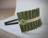 Green Ruffle Headband . Polka Dotted Rosemary Ruffle Band - Green Linen Ruffle Headband with Ribbon and Button Detail