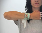 Geometric Cuff Bracelet  in Aqua & Earth  - Modern . Geometric Fabric Cuff with Ribbon tie . Fabric jewelry . Women .