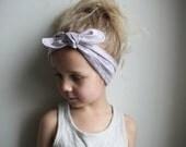 Bandana style headband - Vintage style Floral Fabric Little girl headband - Tie up headband - pink purple flower - Toddler headband