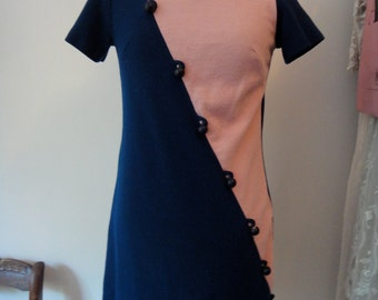 Vintage Color Blocked Mini Dress