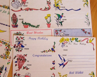 1960's gift tag stickers